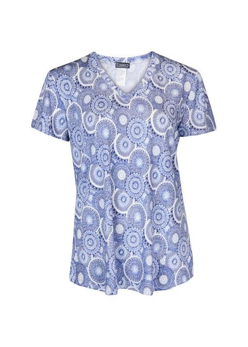 V-Neck Printed Active T-Shirt Hi-Lo Hem, Navy, original
