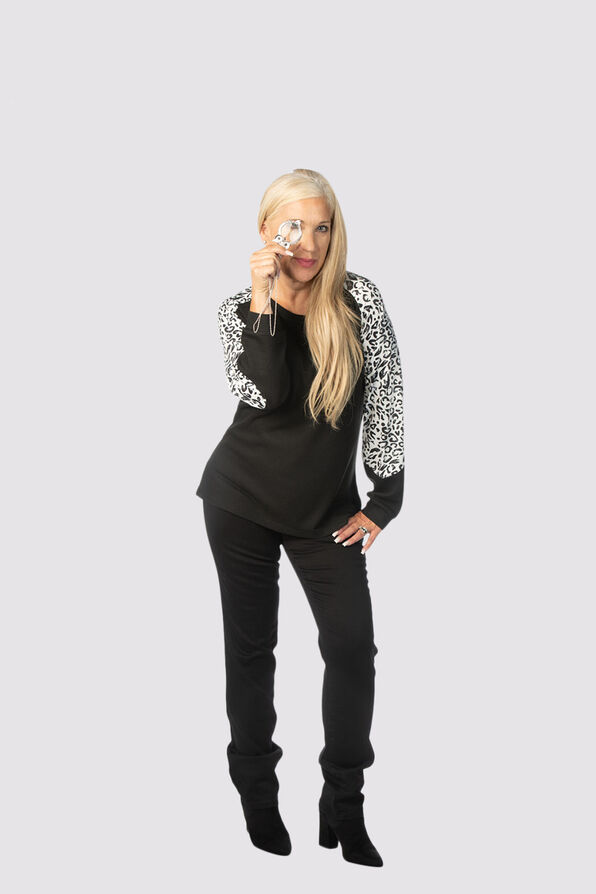 Leopard-Edged Sweater, Black, original image number 2