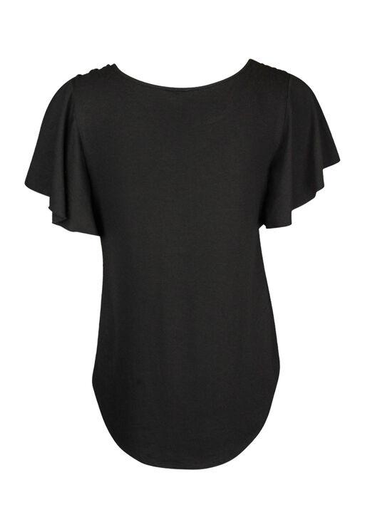 Flutter Sleeve Laced Shoulder Detail T-Shirt, Black, original