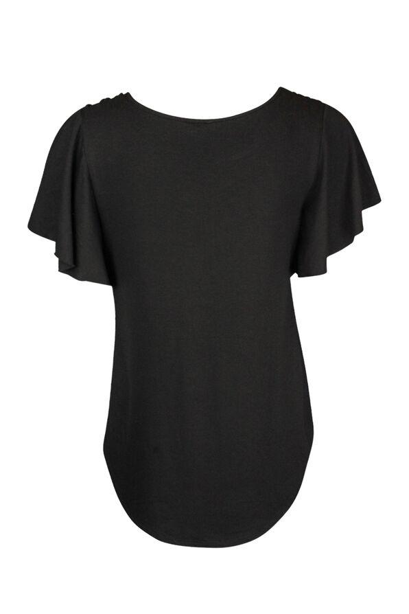 Flutter Sleeve Laced Shoulder Detail T-Shirt, Black, original image number 1
