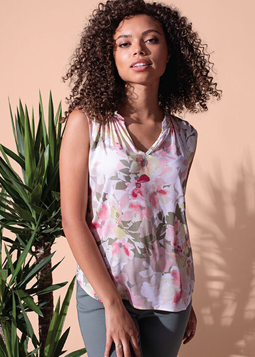 Sleeveless Floral Blouse with Accented Neckline, Sage, original