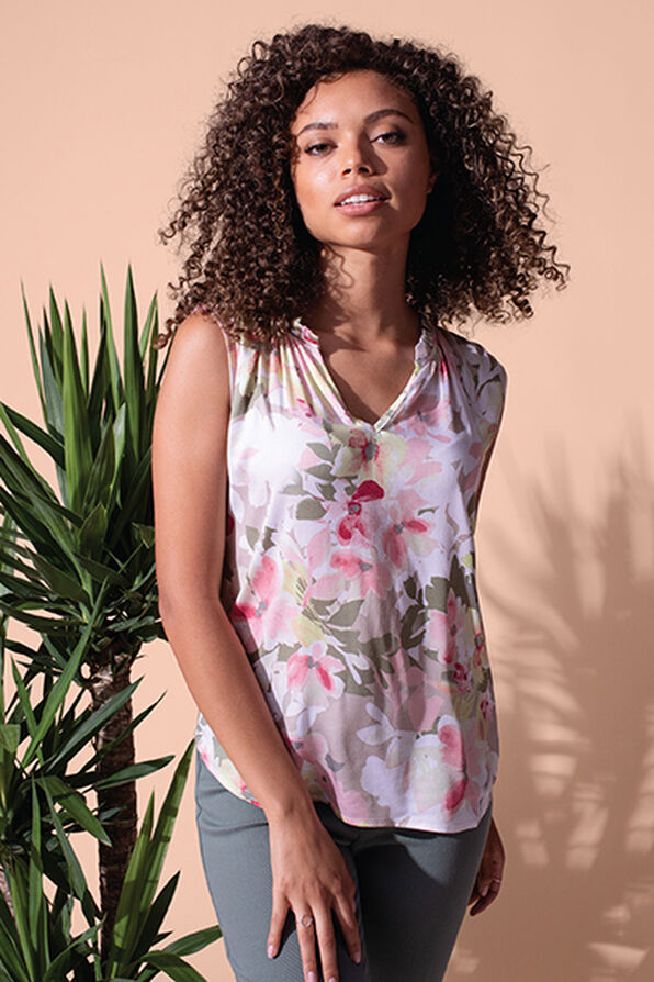 Sleeveless Floral Blouse with Accented Neckline, Sage, original image number 1