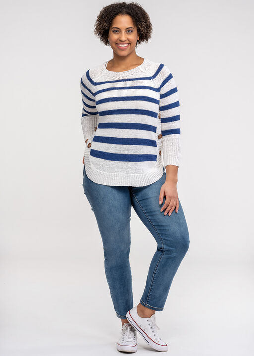 Striped Sweater with Crew Neck, Blue, original
