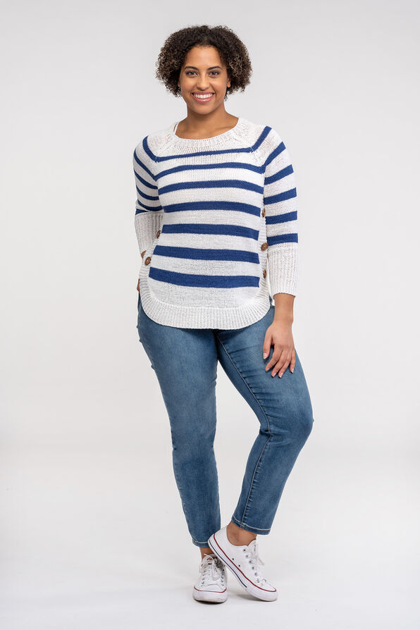 Striped Sweater with Crew Neck, Blue, original image number 1