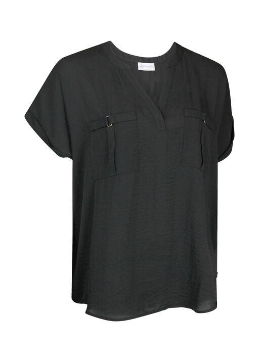 Split Neck Cap Sleeve Blouse, , original