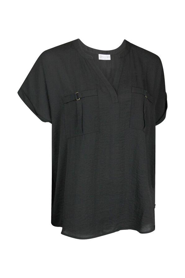 Split Neck Cap Sleeve Blouse, , original image number 0