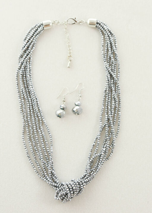 Sparkling Necklace and Earring Set, Silver, original