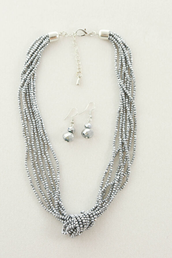 Sparkling Necklace and Earring Set, Silver, original image number 0