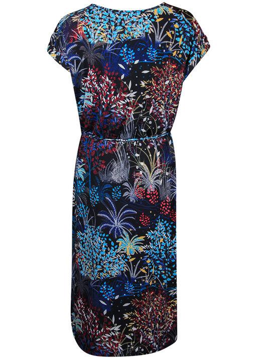 Printed Midi Dress with Rolled Cap Sleeve, Black, original