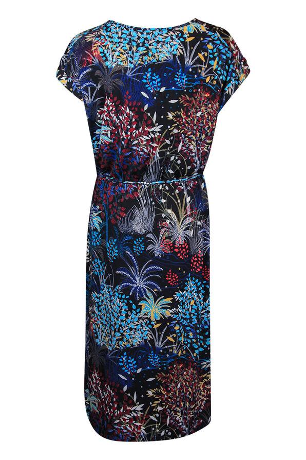 Printed Midi Dress with Rolled Cap Sleeve, Black, original image number 1