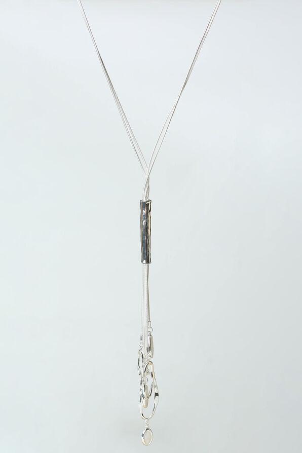 Hammered Metal Necklace, Silver, original image number 0