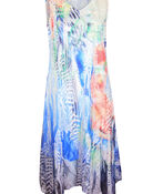Sleeveless Dress with Burnout Overlay, Multi, original image number 0