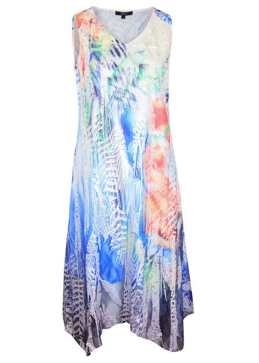 Sleeveless Dress with Burnout Overlay, Multi, original