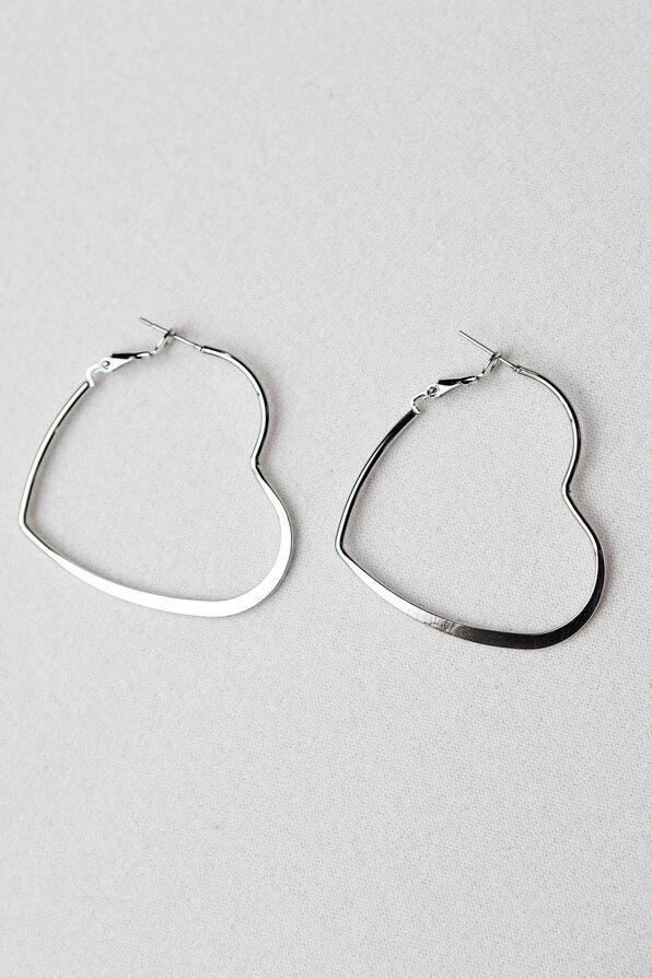 Heart Hoop Earrings, Silver, original image number 0