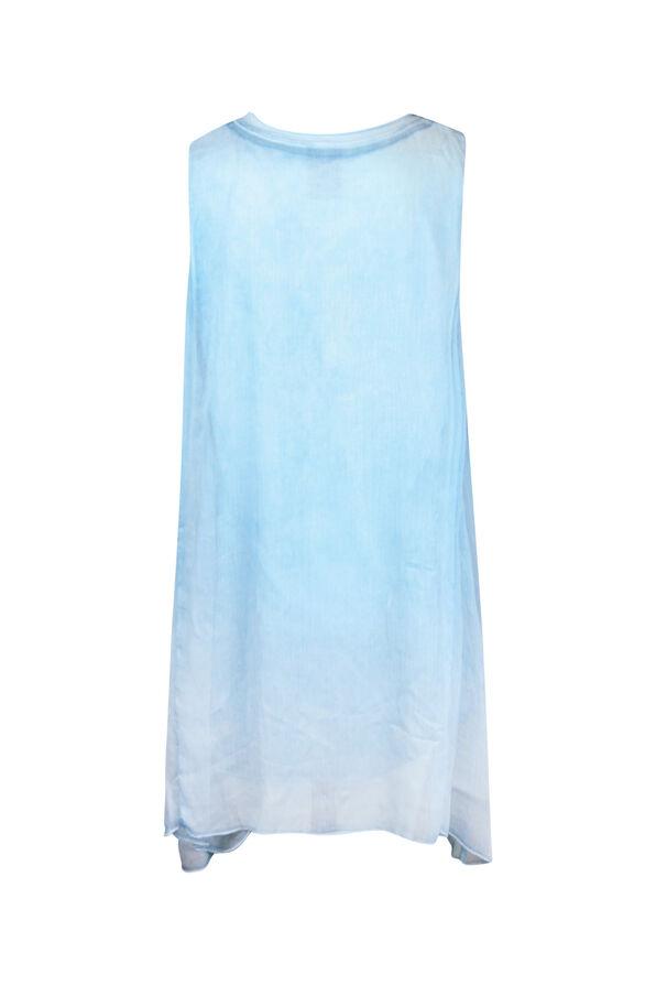 Sleeveless Chiffon Overlay Top, Turquoise, original image number 1