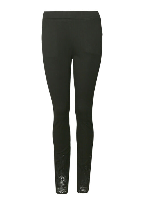 Mesh and Applique Hem Legging , Black, original