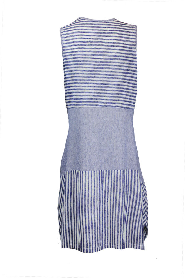 Sleeveless Striped Dress with Patch Pocket, Navy, original image number 1