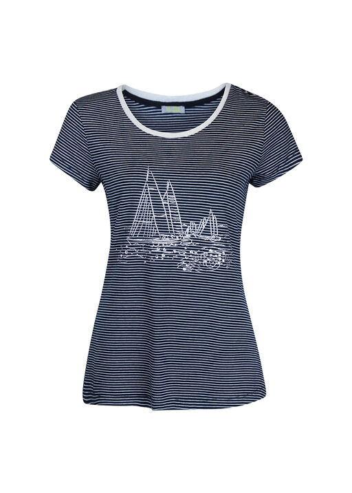 Striped T-Shirt with Sailboat Hotfix, Navy, original