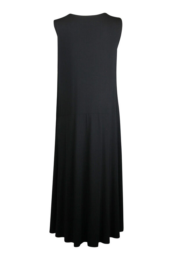 Sleeveless Midi Dress with Drawstring Pocket, Black, original image number 1