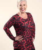 Top with Long Sleeves and Scoop neck, Red, original image number 0
