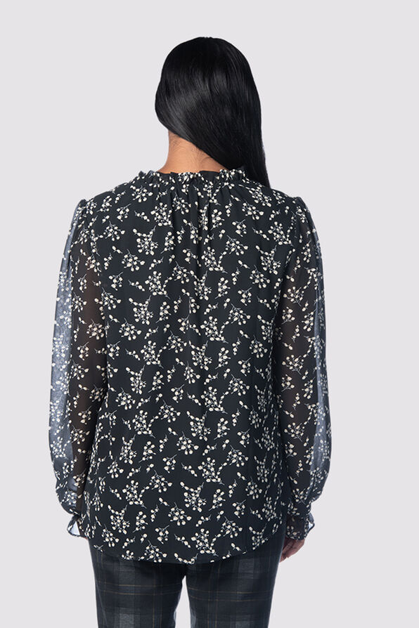 Black Blouson Bell Blouse, Black, original image number 2