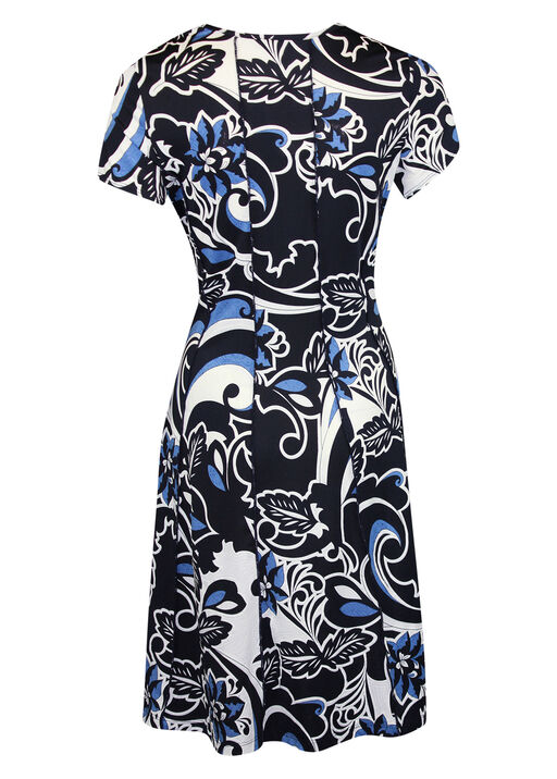 Puff Print Fit and Flare Dress, Navy, original