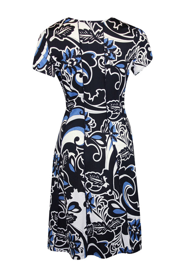 Puff Print Fit and Flare Dress, Navy, original image number 1
