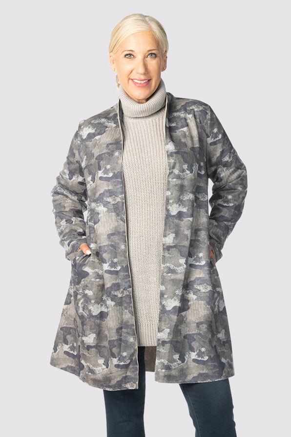 Camouflage Suede Cardi-Coat, Grey, original image number 1