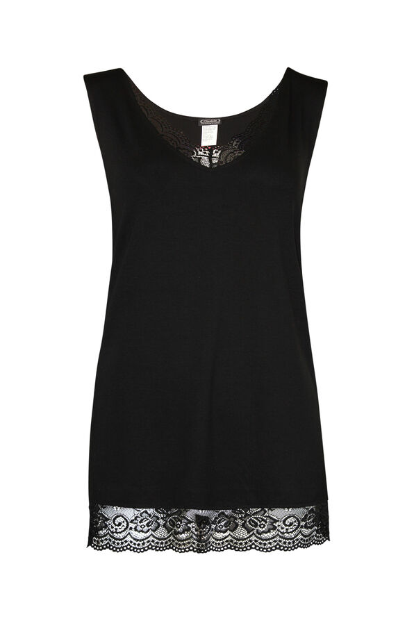 Sleeveless Lace Trimmed Top, , original image number 0