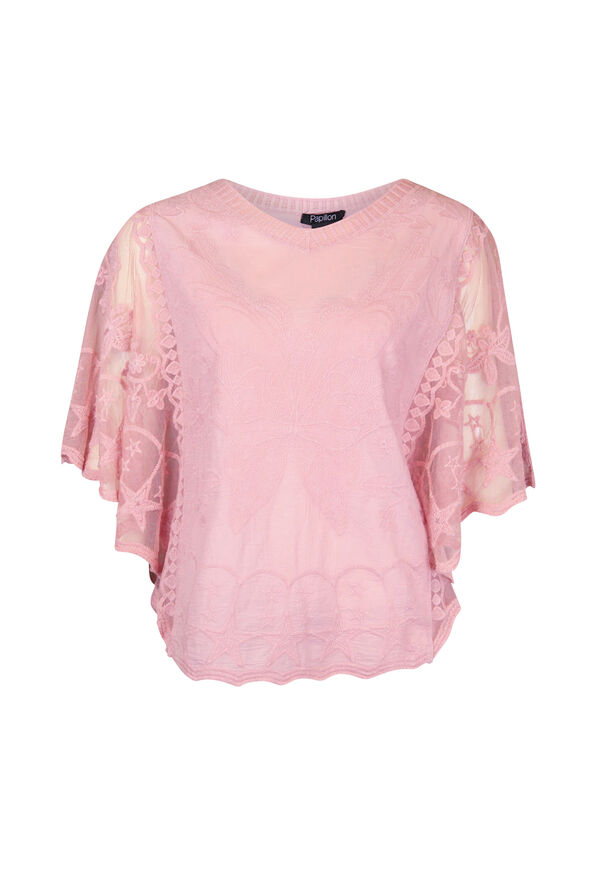 Butterfly Embroidered Lace Batwing Top, , original image number 0
