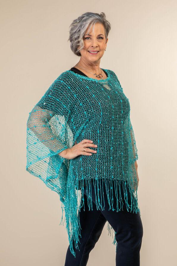 Mesh Poncho with Fringe, Turquoise, original image number 2