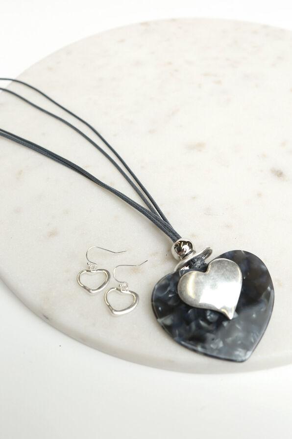 Long Heart Pendant Necklace Set, Silver, original image number 1