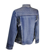 Denim Jacket with Mesh and Floral Embroidery, Denim, original image number 1