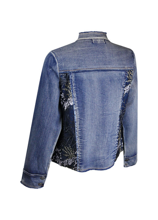 Denim Jacket with Mesh and Floral Embroidery, Denim, original