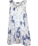 Crinkle Fabric Floral Printed Sleeveless Tunic, Blue, original image number 0