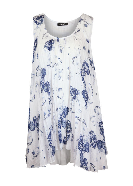Crinkle Fabric Floral Printed Sleeveless Tunic, Blue, original