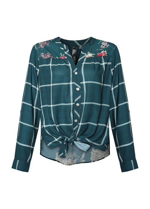 Plaid with Floral Print Blouse, , original