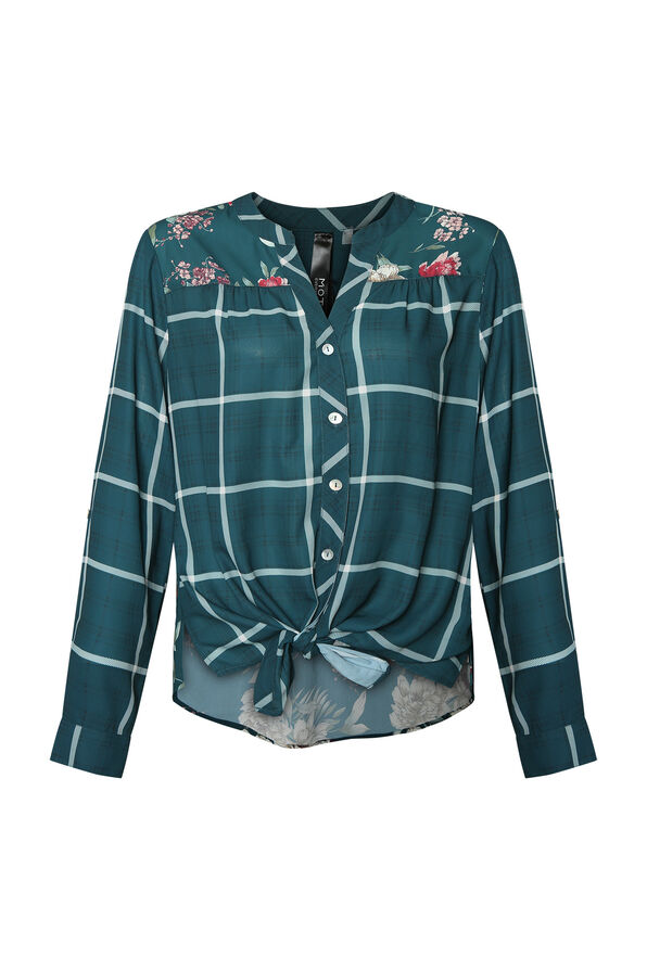 Plaid with Floral Print Blouse, Teal, original image number 0