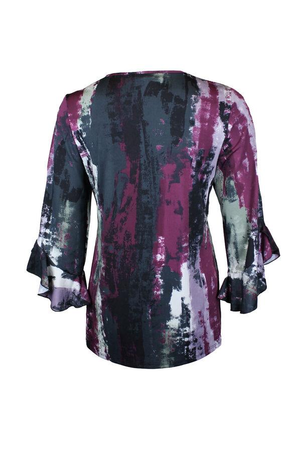 Painted Print Bell Sleeve Top, Purple, original image number 1
