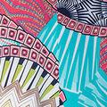 Geometric Print Sleeveless Maxi Dress, Coral, swatch