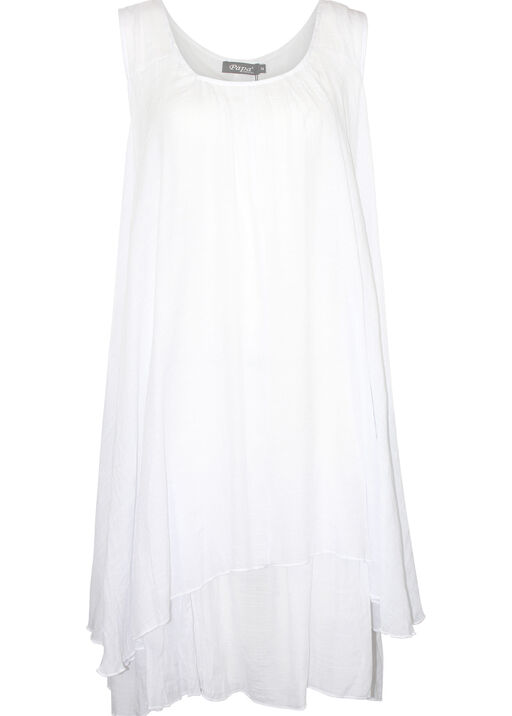 Sleeveless Layered Midi Dress with Sharkbite Hem, White, original