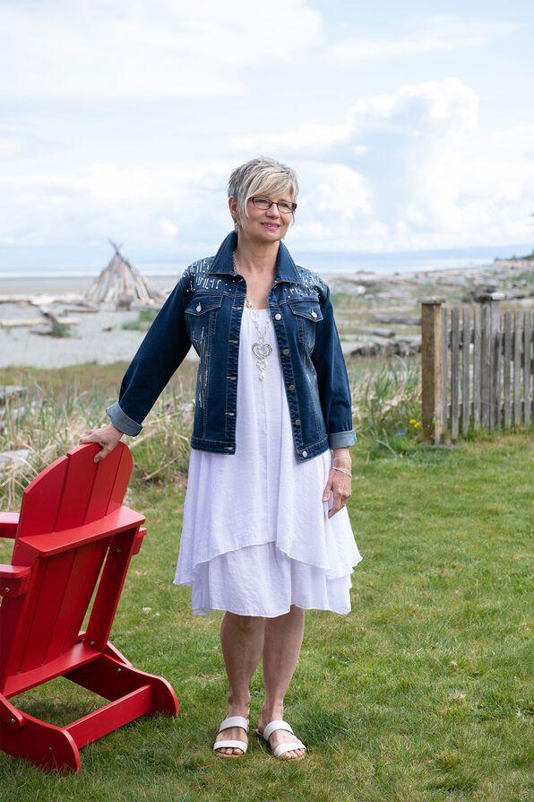 Sleeveless Layered Midi Dress with Sharkbite Hem, White, original image number 0