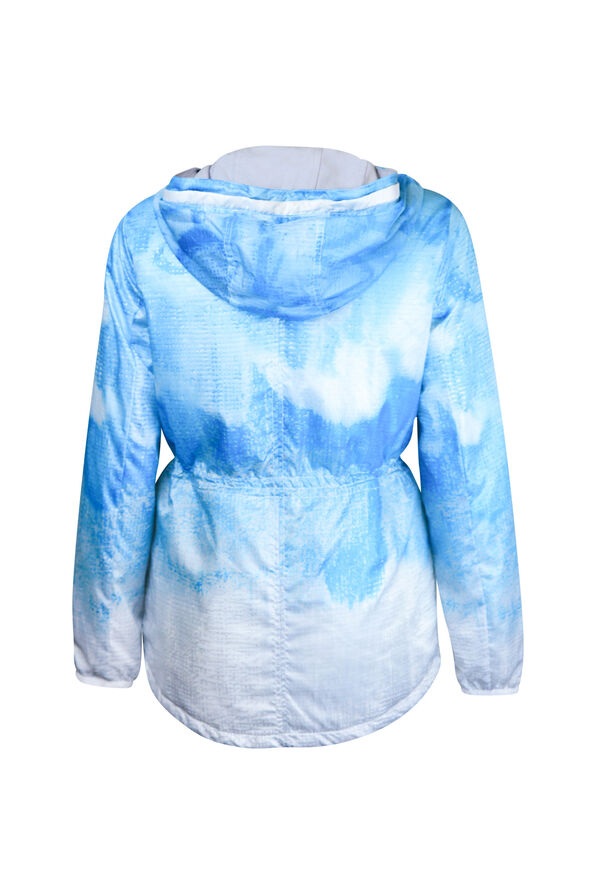 Hooded Windbreaker Jacket with Drawstring Waist, Turquoise, original image number 1