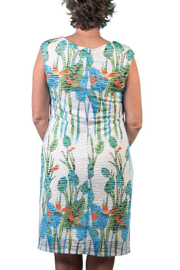 Cap Sleeve Printed Sheer Stripe Shift Dress, Aqua, original image number 1