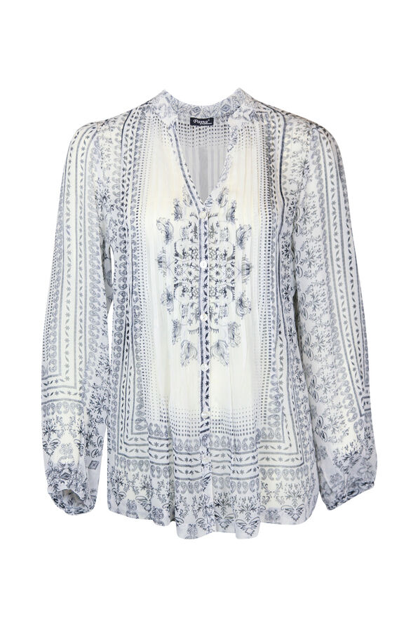 Split Neck Pintuck Paisley Print Long Sleeve Blouse , White, original image number 0