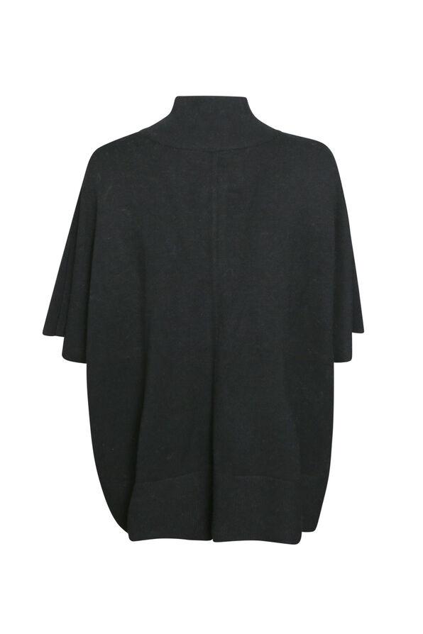 Mock Neck Poncho with Zipper , Black, original image number 1