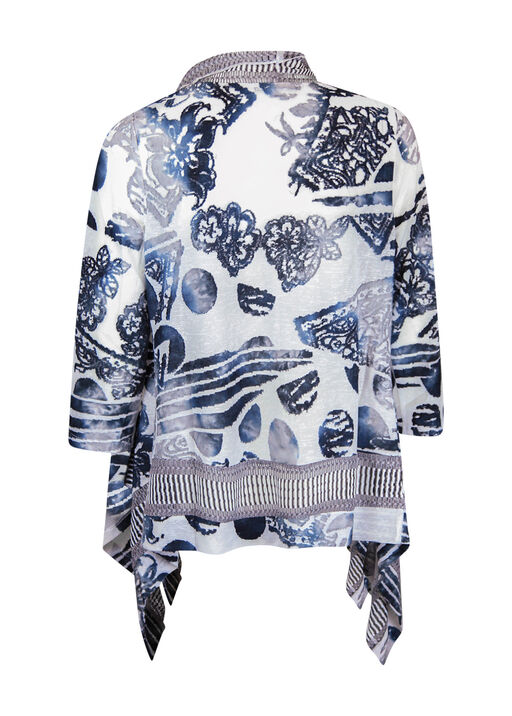 Border Print Burnout Cardigan 3/4 Sleeve , Grey, original