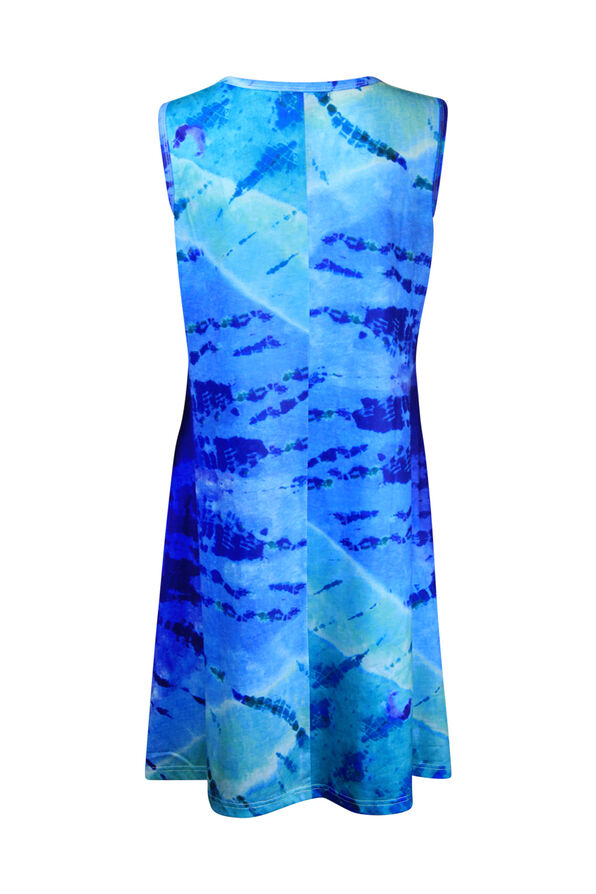 Sleeveless Tie Dye Dress, Indigo, original image number 1