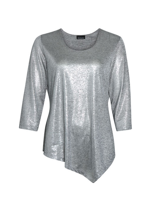 Metallic 3/4 Sleeve Top with Asymmetrical Hem, Silver, original