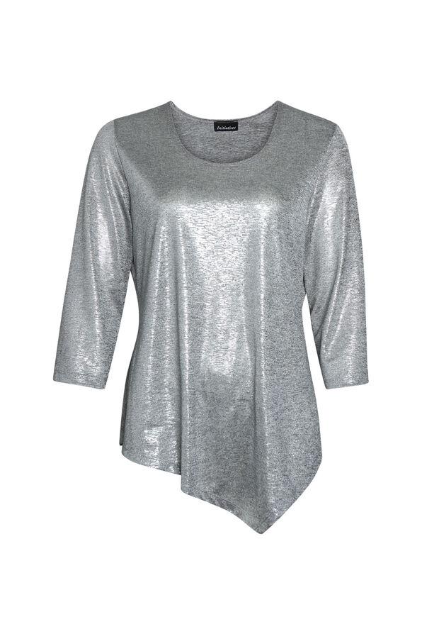 Metallic 3/4 Sleeve Top with Asymmetrical Hem, Silver, original image number 0